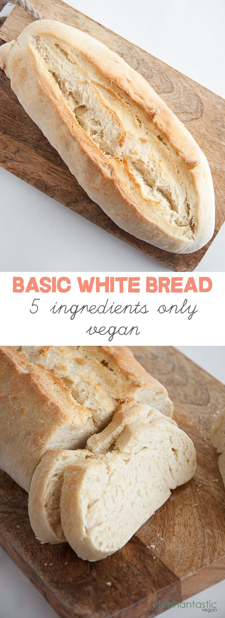 Basic White Bread with only 5 ingredients #basic #white #bread #vegan #easy