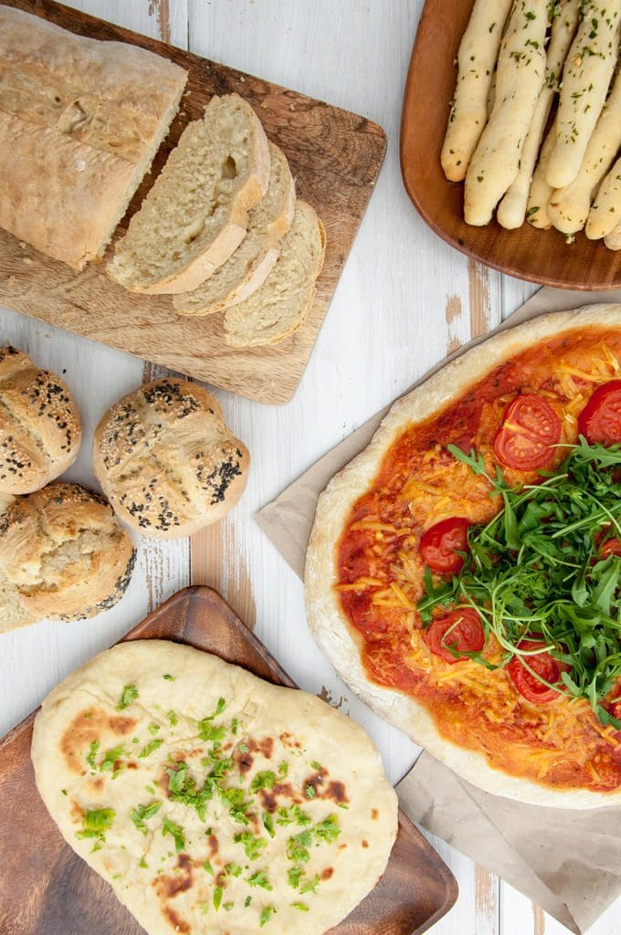 Pizza, Naan, Rolls, Bread Loaf and Garlic Herb Breadsticks made with the Multi-Purpose Bread