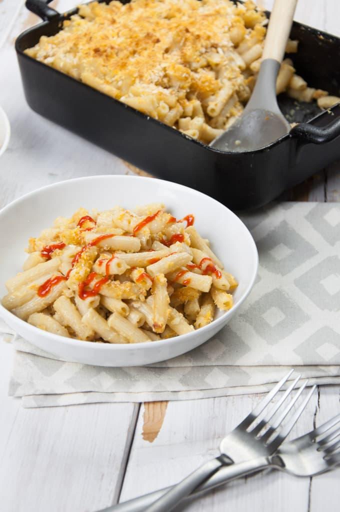 Vegan Mac and Cheese with Sriracha