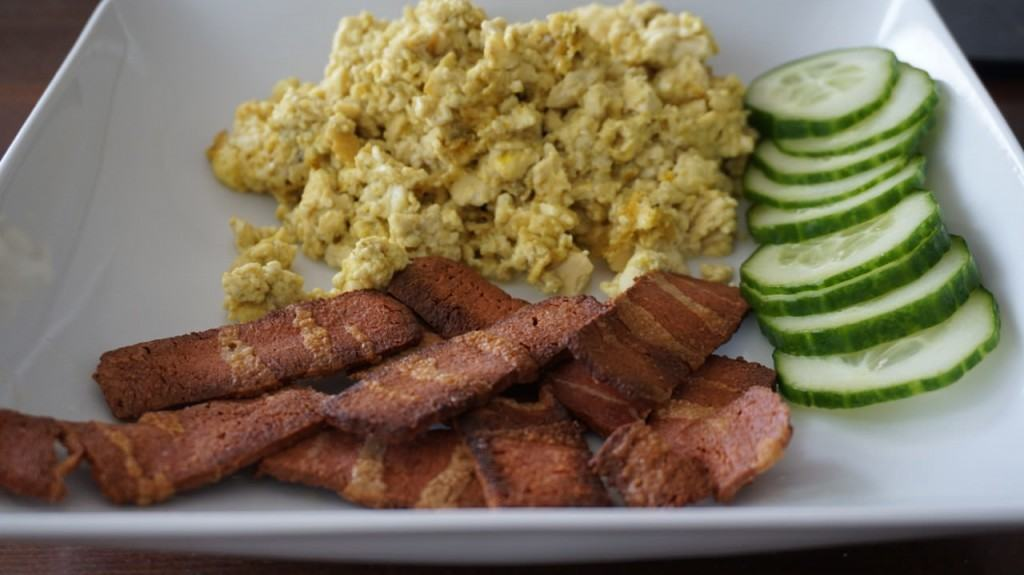 1st try: bacon with tofu scramble and cucumber slices