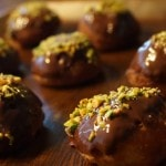chocolate frosting with pistachios