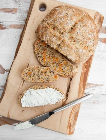 Carrot Bread with vegan cream cheese