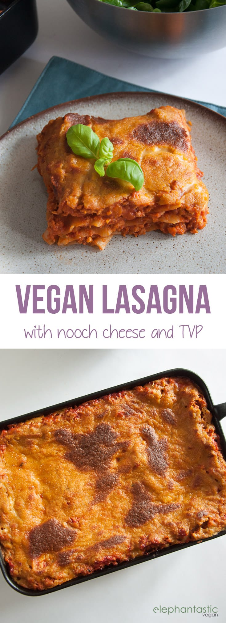 Vegan Lasagna with Nooch Cheese | ElephantasticVegan.com