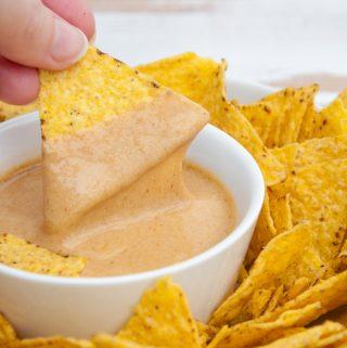 Vegan Nooch Cheese Sauce with tortilla chips