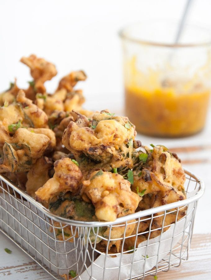 Vegetable Pakoras with Mango Chutney
