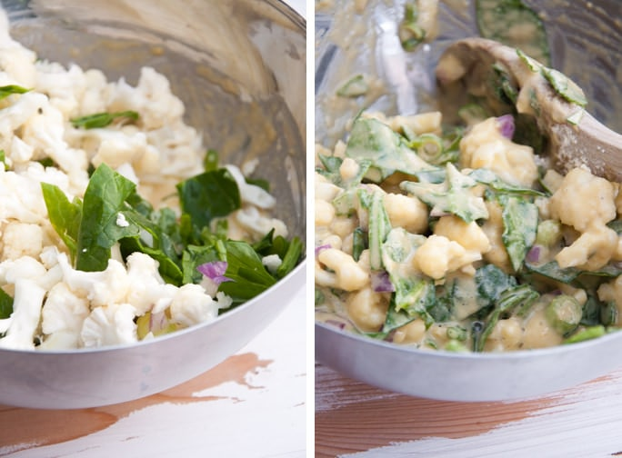 cauliflower and spinach for vegetable pakoras before and after the batter is added
