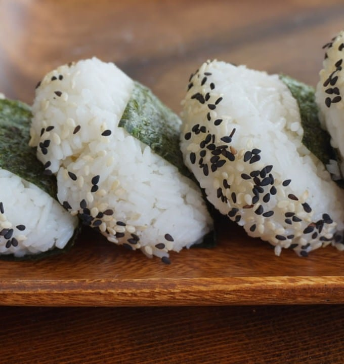 plain Onigiri and Sesame Balls