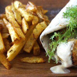 Falafel Wrap w/ homemade Fries