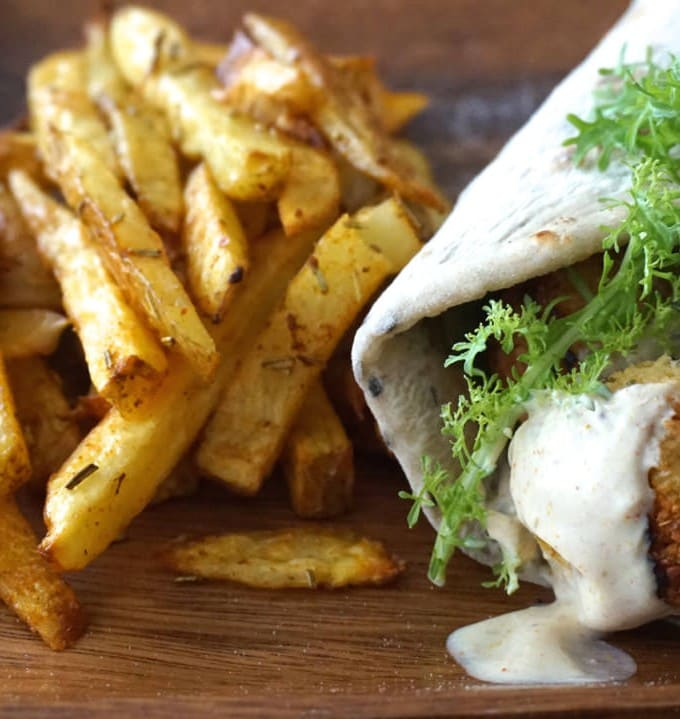 Falafel Wrap w/ homemade Fries