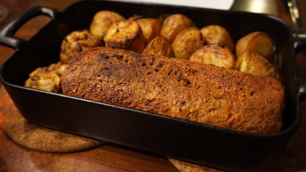 Seitan Roast with Bread Stuffing