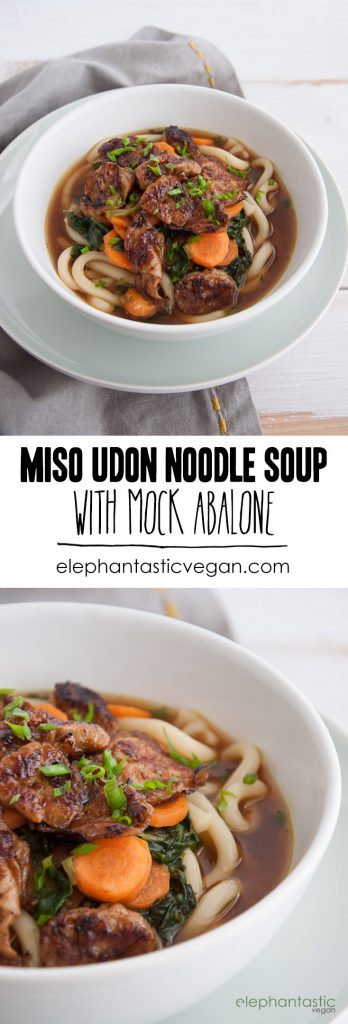 Miso Udon Noodle Soup with Mock Abalone | ElephantasticVegan.com