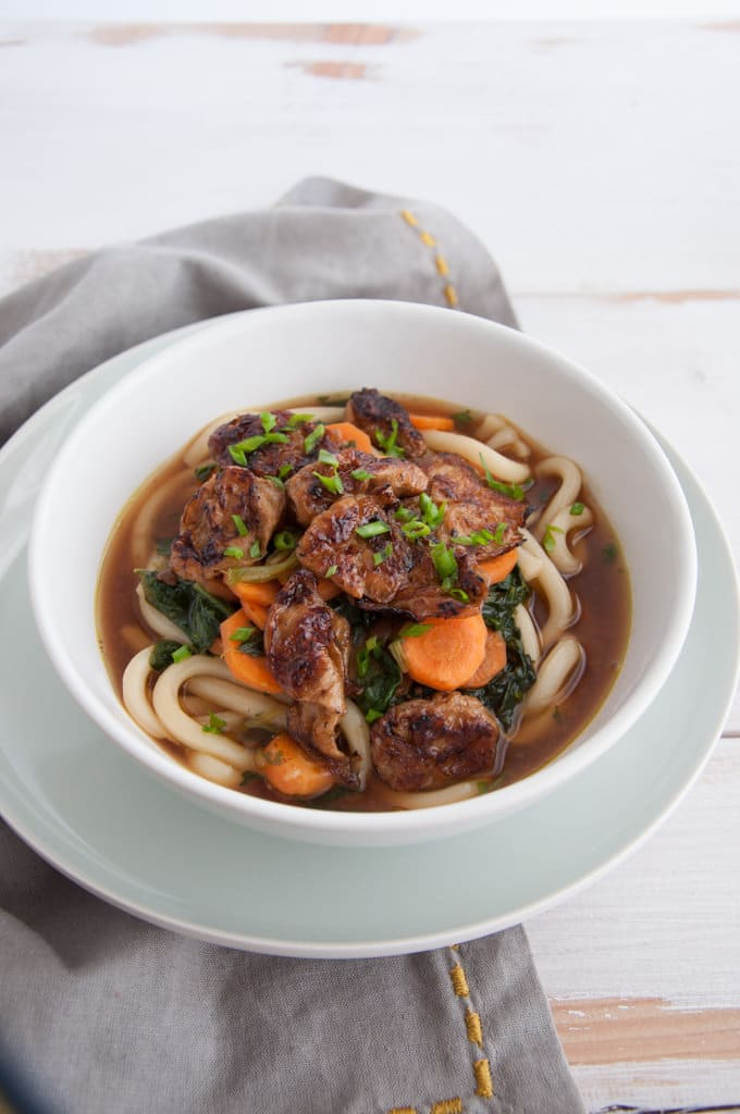 Miso Udon Noodle Soup with Mock Abalone | ElephantasticVegan.com