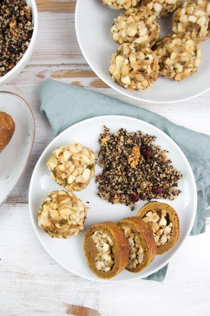Thanksgiving Plate with Seitan Roast, Quinoa and Bread Dumplings