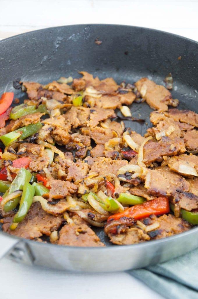 Vegan Philly Cheesesteak Seitan with bell pepper