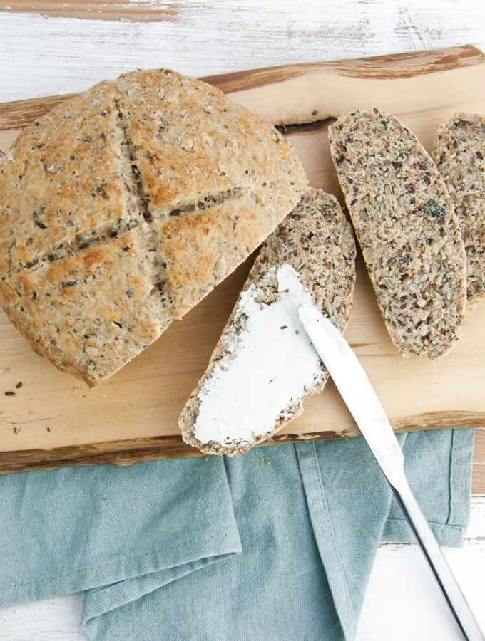 Seedy Bread with vegan cream cheese