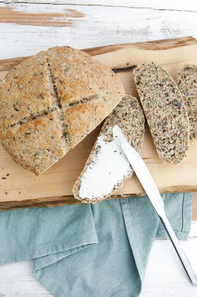 Seedy Bread with vegan cream cheese
