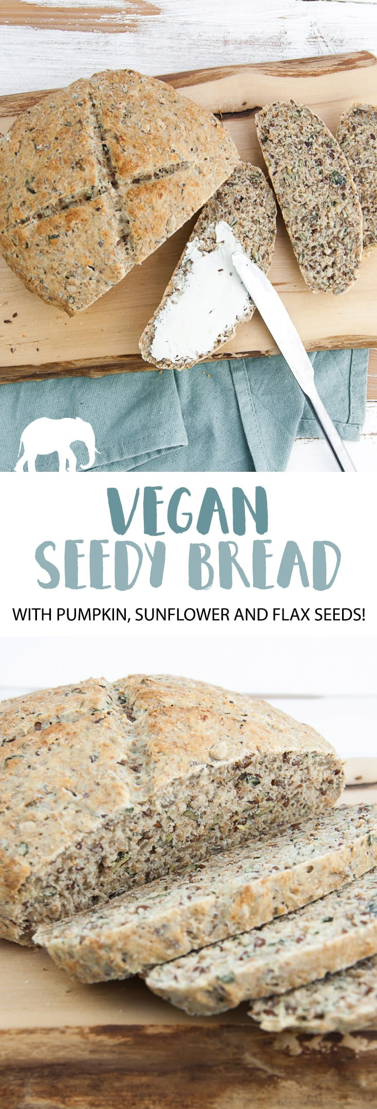 Vegan Seedy Bread | ElephantasticVegan.com #vegan #bread #seed #pumpkin #sunflower #flax
