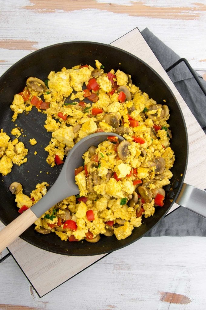 Tofu Scramble with Mushrooms and Bell Pepper in a pan