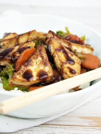 Hoisin-Glazed Tofu Stir-Fry with White Rice