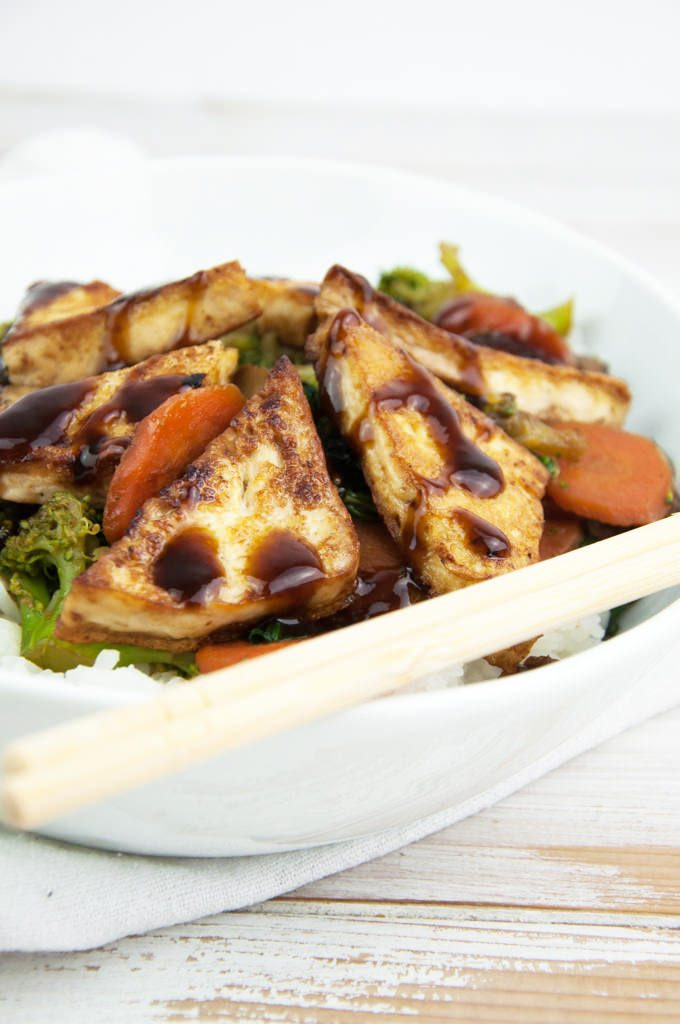 Hoisin-Glazed Tofu Stir-Fry with White Rice