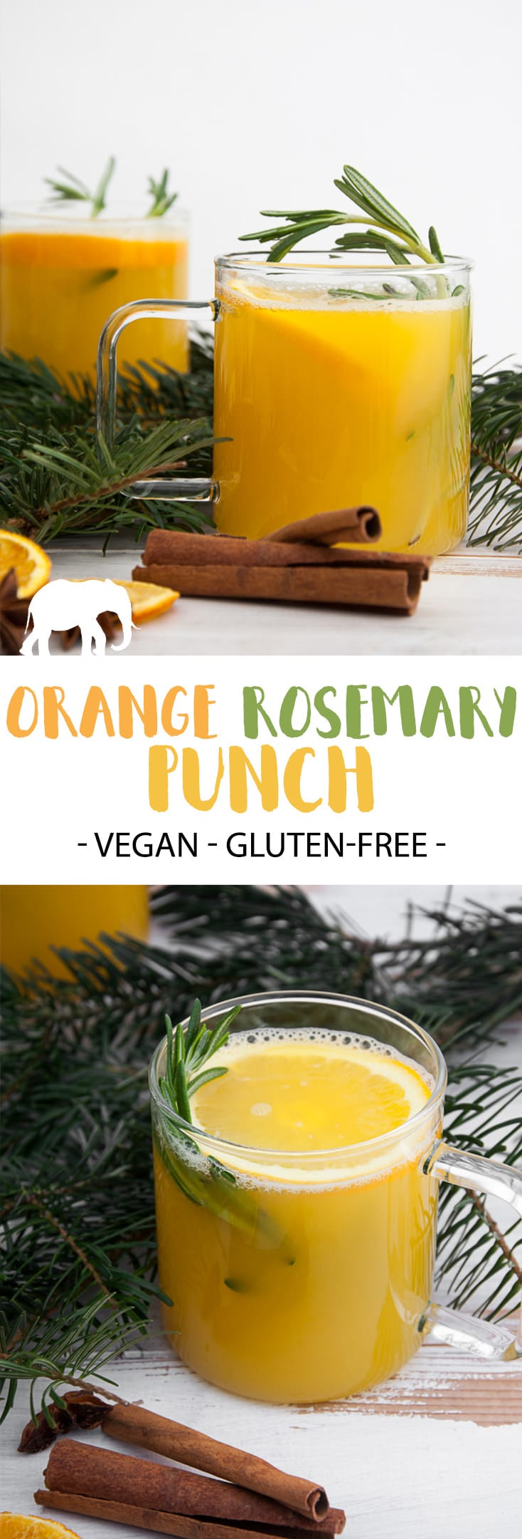 Orange Rosemary Punch - a warm and delicious alcoholic drink for the christmas season! #vegan #drink #alcohol #orange #rosemary #festive  #punch | ElephanasticVegan.com