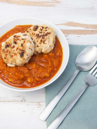Vegan Pumpkin Goulash with two pan-fried Bread Dumplings