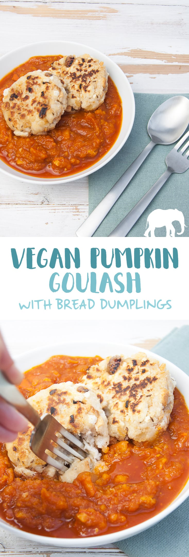 Vegan Pumpkin Goulash with Bread Dumplings | ElephantasticVegan.com #vegan #goulash #pumpkin #fall