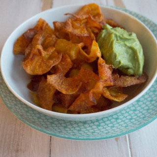 Crispy Potato Twisters with an Avocado Coriander Dip