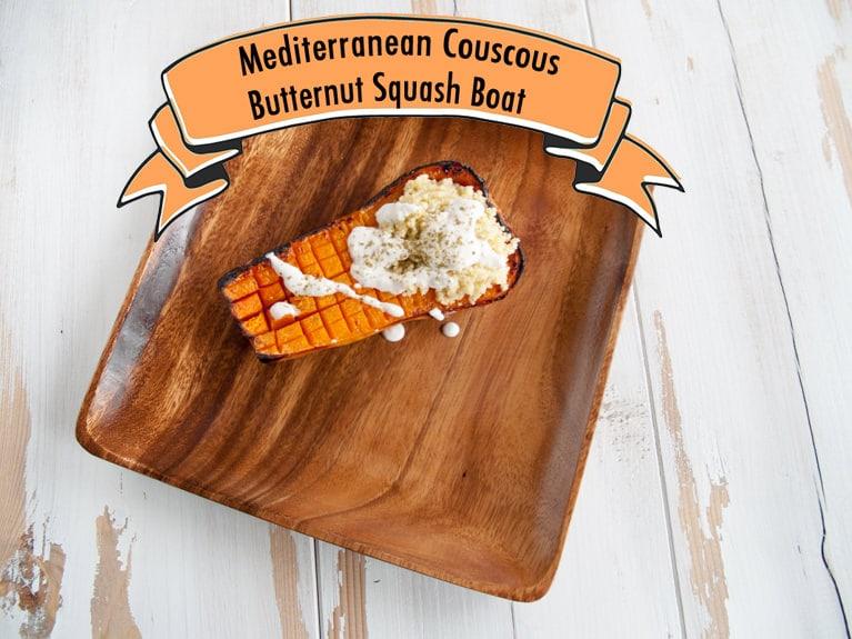 Mediterranean Couscous Butternut Squash Boat