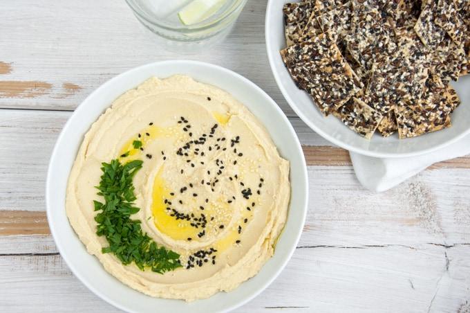 Homemade Hummus with Crackers | ElephantasticVegan.com