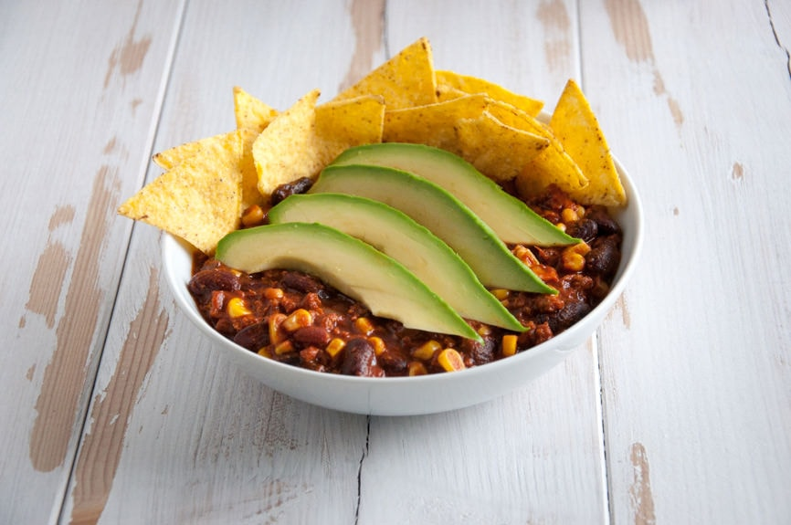 Meaty Vegan Chili con TVP