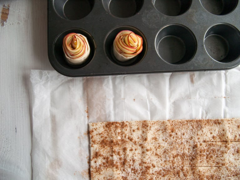 Vegan Apple Roses in a muffin tray