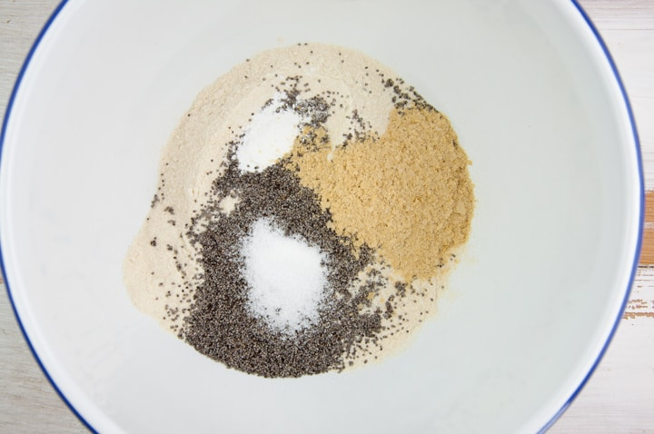 dry ingredients for poppy seed crackers in a bowl