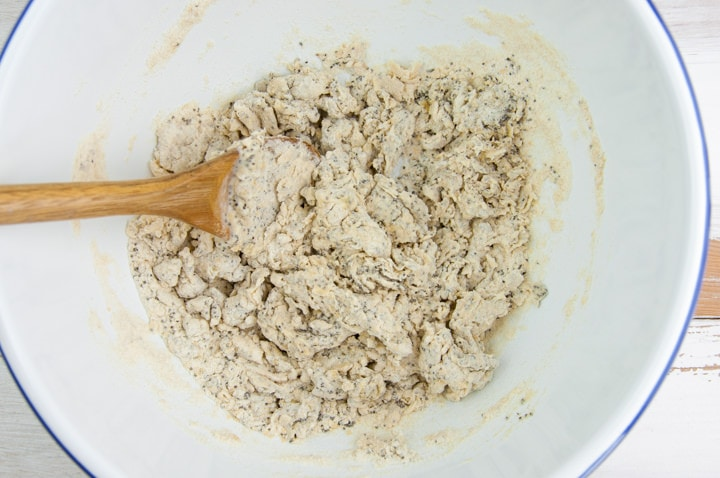 combining dry and wet ingredients for poppy seed crackers