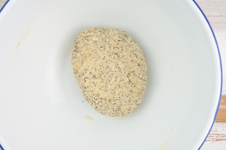 poppy seed crackers dough in a bowl