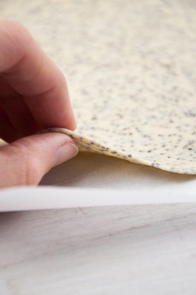 thin poppy seed crackers dough