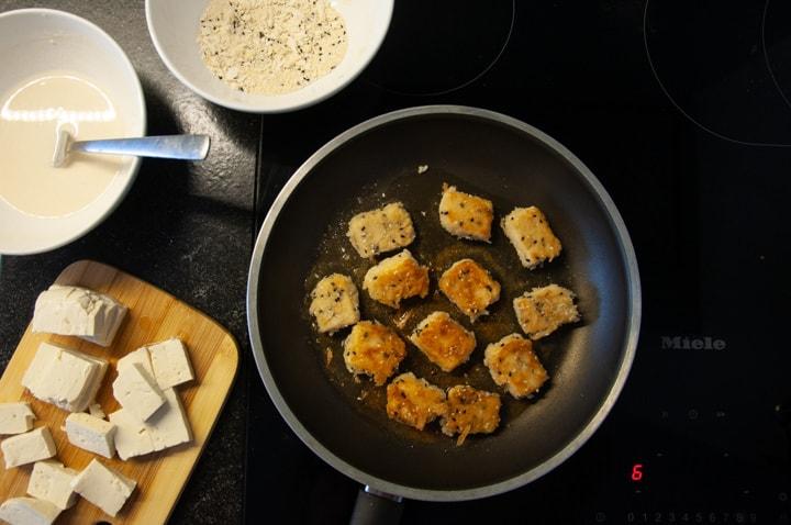 crispy tofu in pan