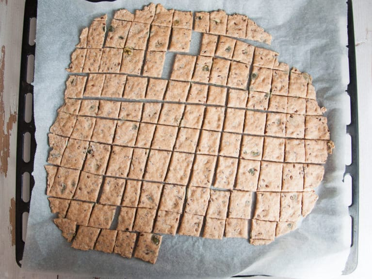 Whole Wheat Seed Crackers on a baking tray