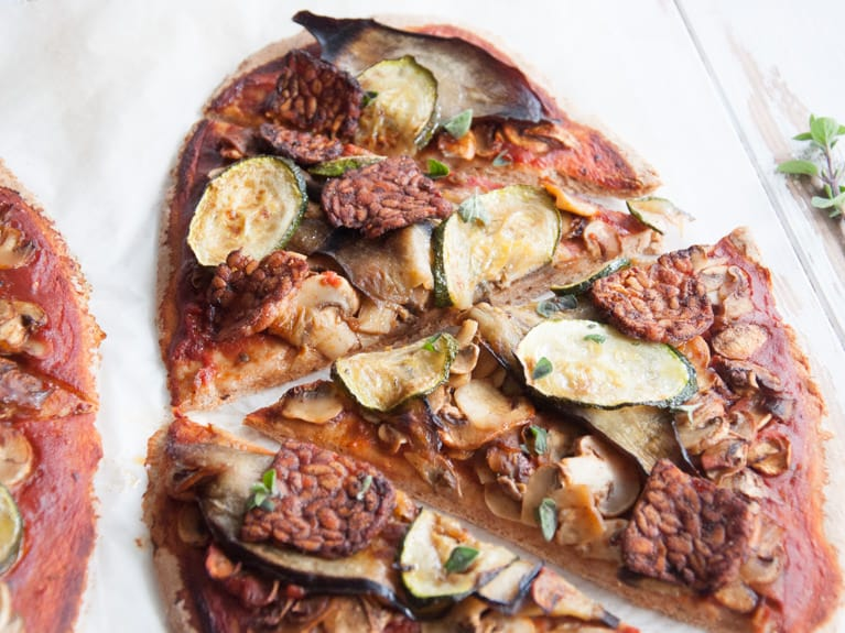 Vegan Whole Wheat Roasted Veggie & Tempeh Pizza