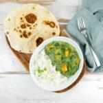 Vegan Palak Tofu Paneer with basmati rice and naan