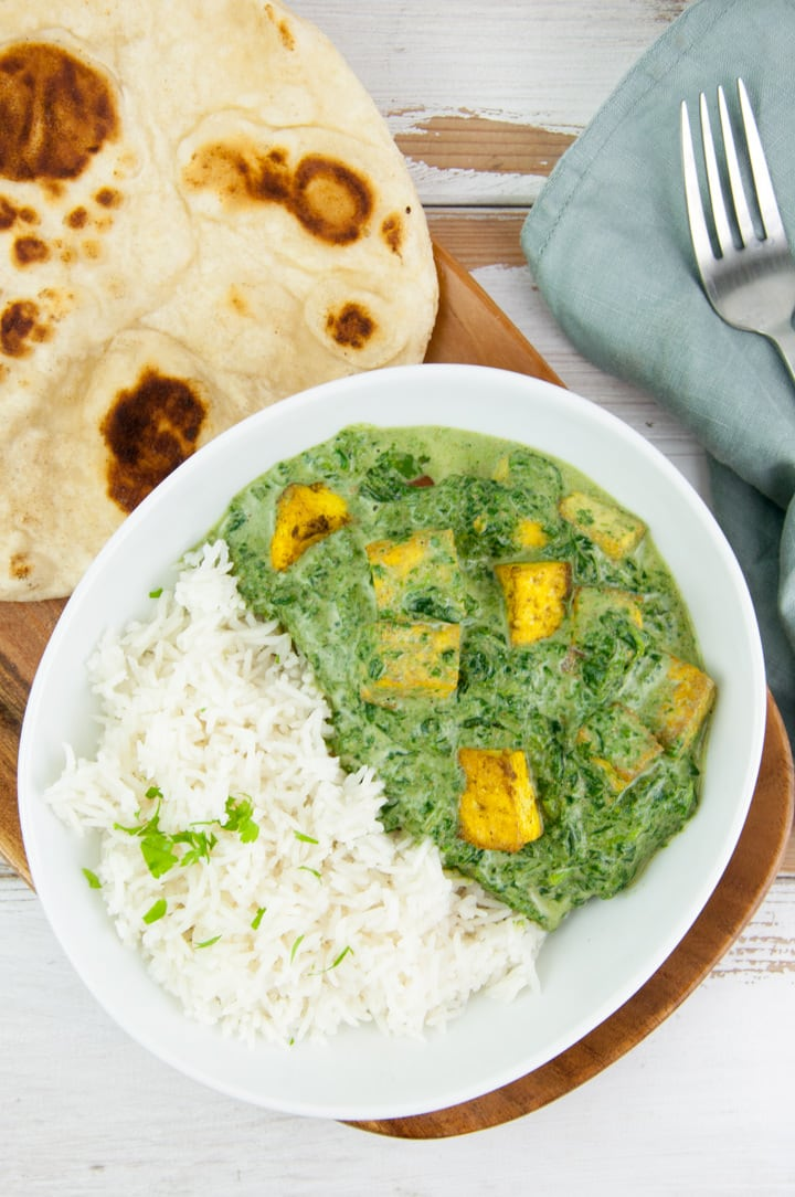 Vegan Palak Tofu Paneer with basmati rice and naan