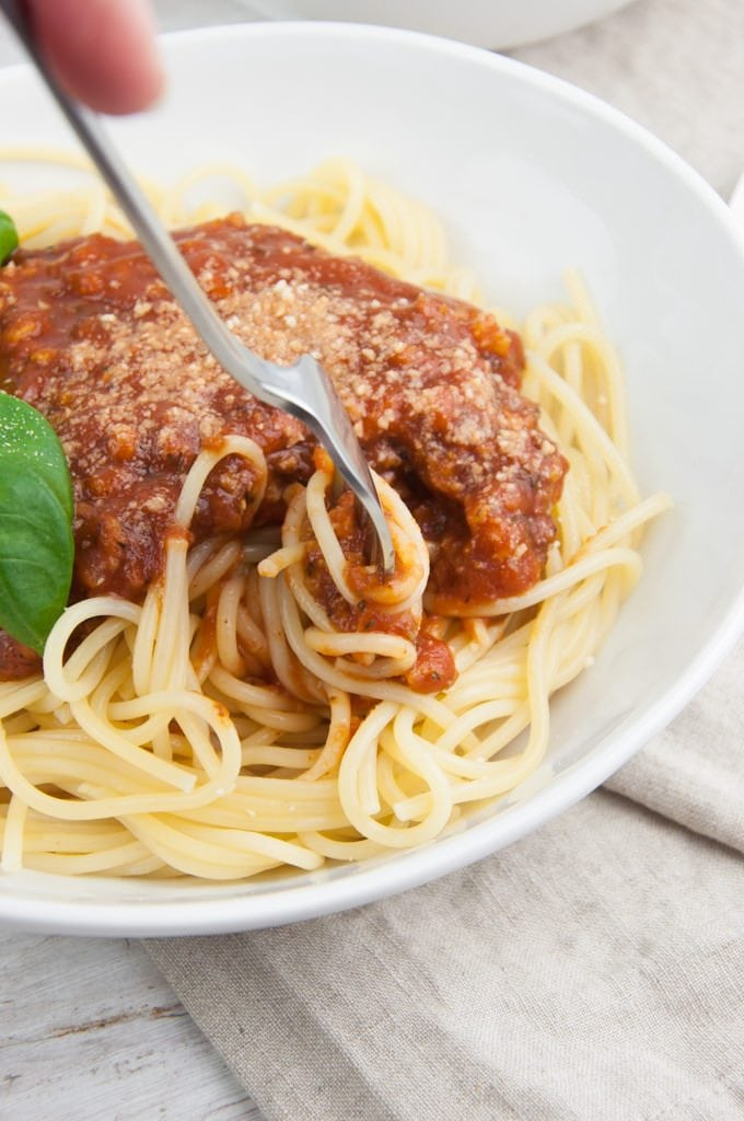 fork in spaghetti bolognese