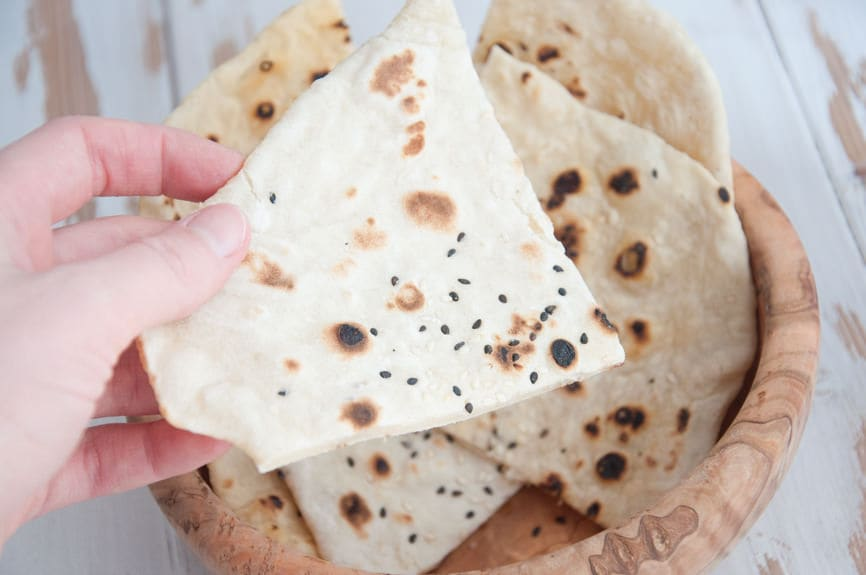vegan, oil-free 4 Ingredient Sesame Naan