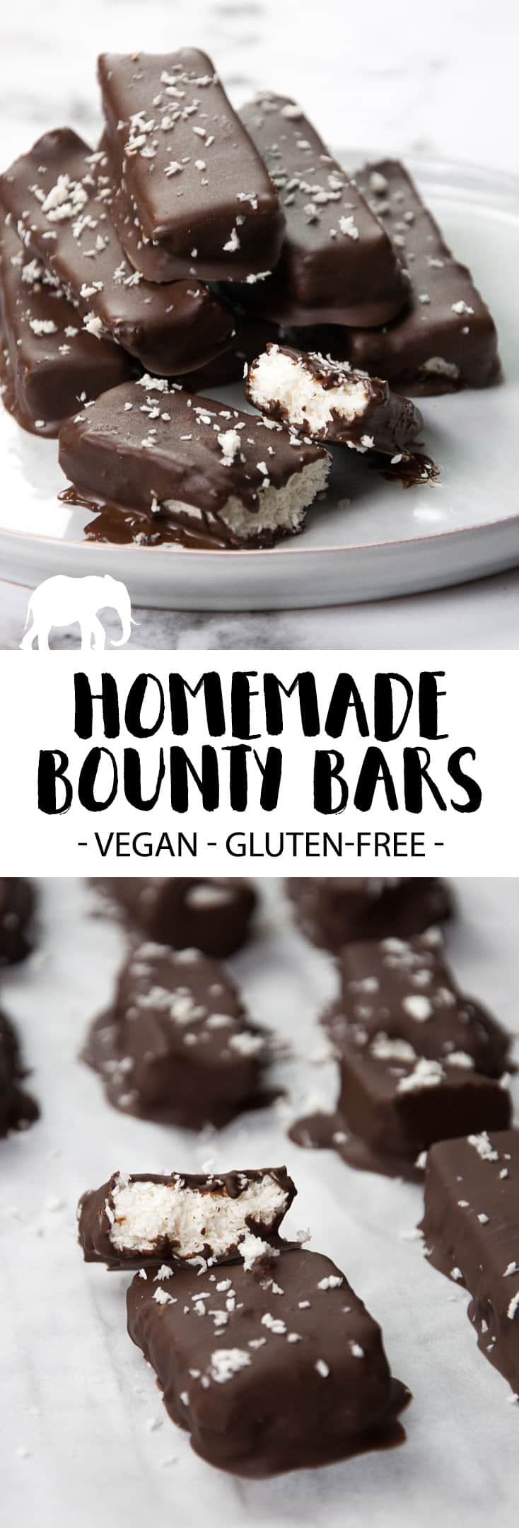 Vegan and gluten-free homemade Bounty Bars #vegan #glutenfree #bounty #dessert #sweet #coconut