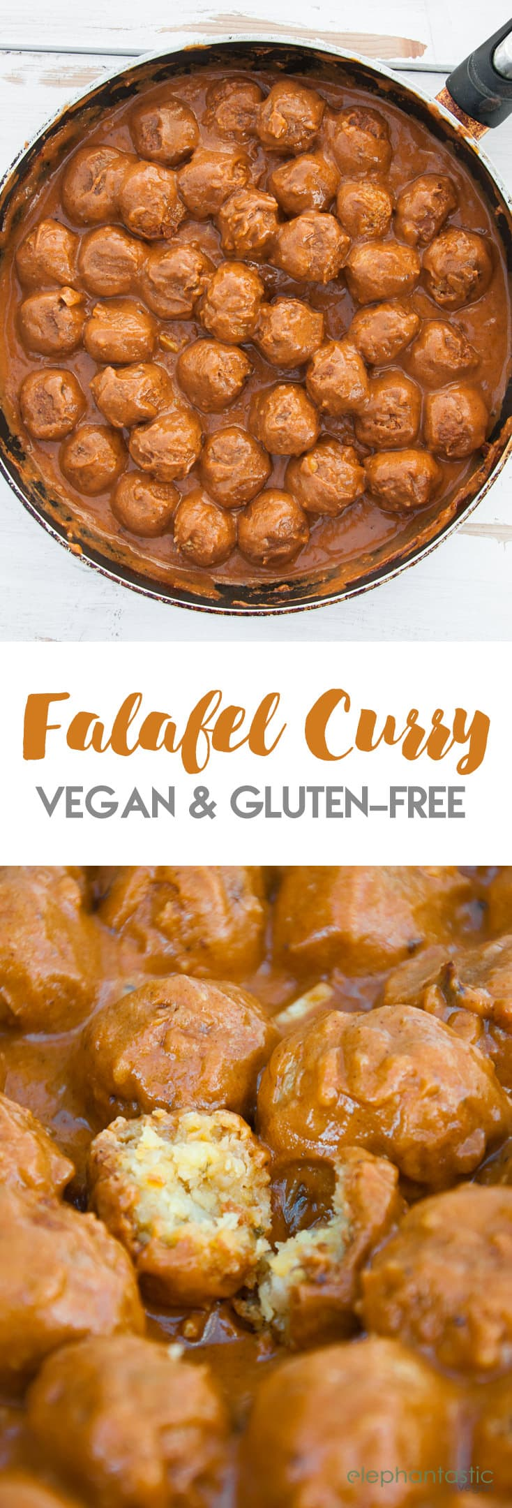 Vegan Falafel Curry - We all love falafel and we all love curries, so why not combine them?! This vegan Falafel Curry is a creamy dream come true! | ElephantasticVegan.com #vegan #glutenfree #falafel #curry