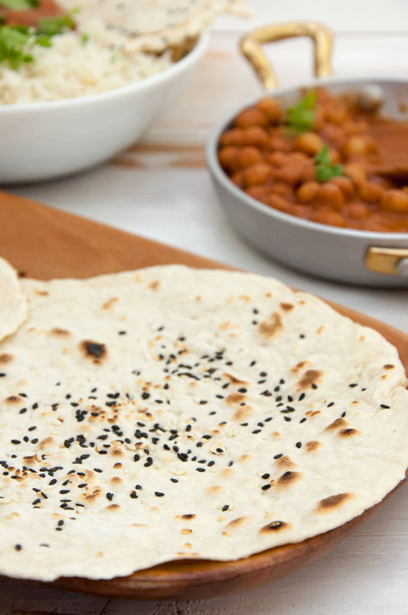 Vegan Sesame Naan with chickpea curry