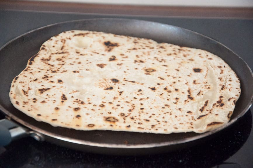 Sesame Naan in the pan