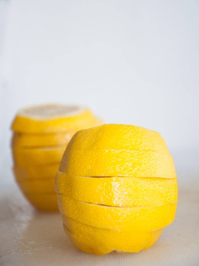A stack of lemon slices