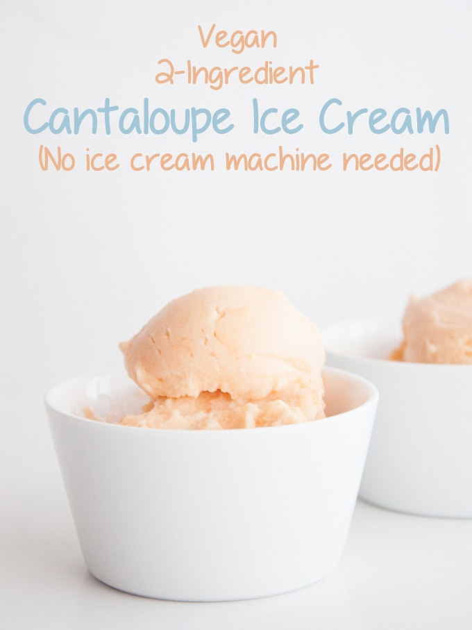 Vegan 2 Ingredient Cantaloupe Ice Cream in white bowls