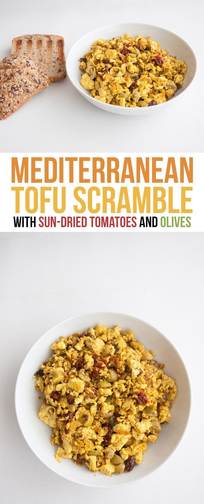 Mediterranean Tofu Scramble with sun-dried tomatoes and olives #vegan #tofuscramble #olives #veganbreakfast | ElephantasticVegan.com